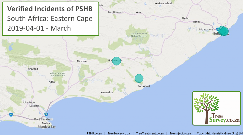 2019-04-11 TreeSurvey.co.za Polyphagous Shot Hole Borer (PSHB) Distribution_Map - Eastern Cape